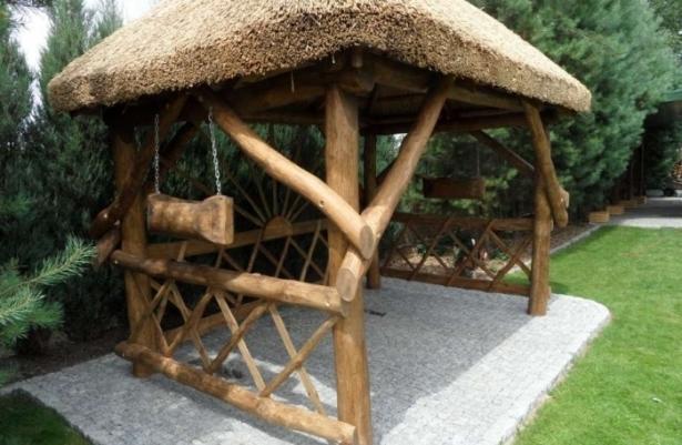 Altany ogrodowe z bali kryte trzciną, strzechą sprzedaż  Konin