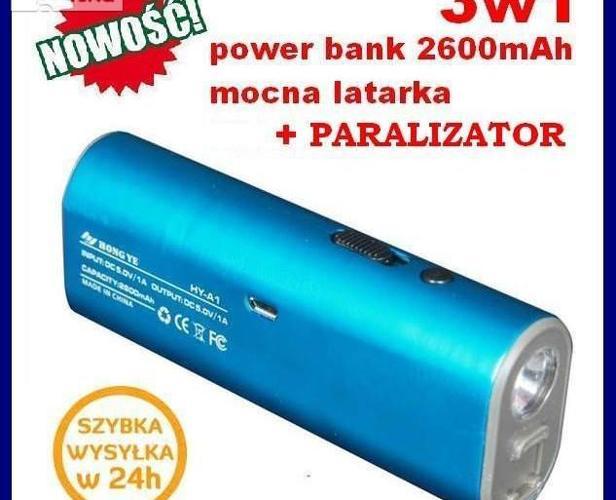 3w1 POWER BANK 2600mAh + Latarka + Paralizator Nowy produkt