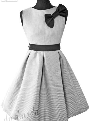 Elegancka sukienka - princeska dziewczęca Dominika w pepitkę Nowy produkt