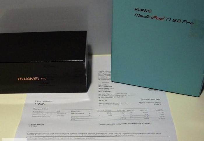 Huawei P8 titanium-grey 36mcy gw., + tablet 8cali MediaPad T1 - nowe ! Nowy produkt