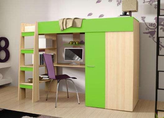 łóżko Piętrowe Biurko Szafa 3 W 1 Comino Dla Dziecka Zielony