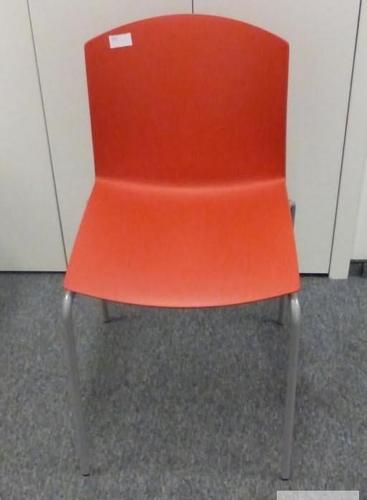 Krzesło plastikowe na stelażu ProfiM Step czerwone - meble biurowe