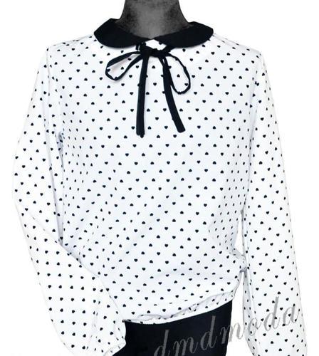 Śnieżnobiała bluzka dziewczęca wizytowa Nowy produkt