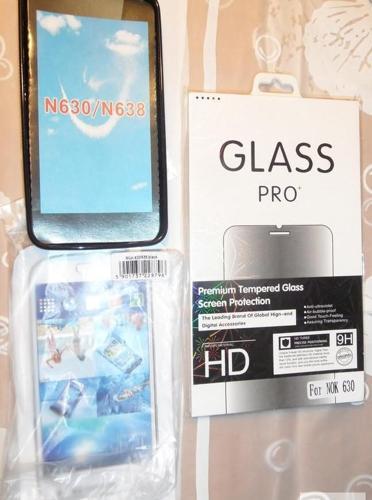 Nowe czarne ETUI GUMA S-LINE OBUDOWA Nokia LUMIA 630 635 + szkło hart Nowy produkt