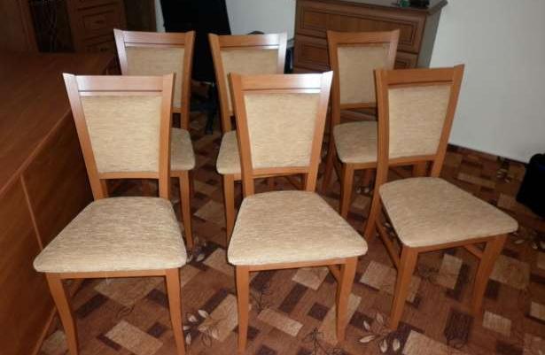 Nowy Stół 6 Krzeseł Z Black Red White Jabłoń Ciemna Sprzedaż