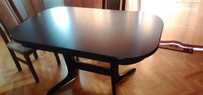 stół klasyczny, mahoń, rozkładany, 80x132/170/208 cm.
