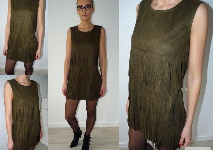 Sukienka z frędzlami zamsz, BUTELKOWA ZIELEŃ Nowy produkt