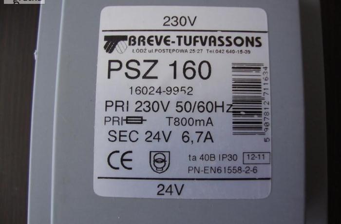 Transformator na szynę 1-fazowy PSZ 160VA - 1szt. Breve Nowy Nowy produkt