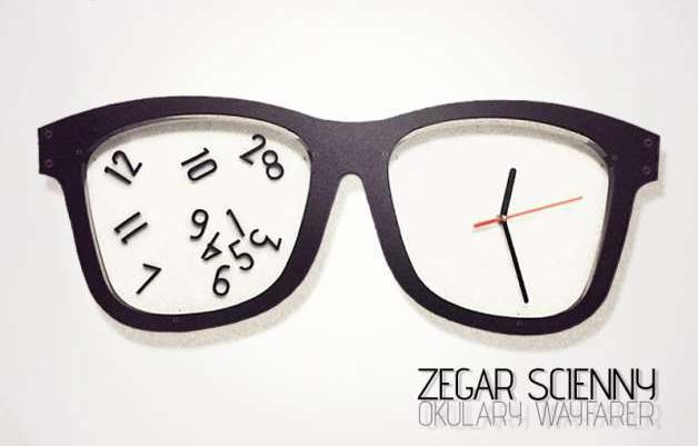 9eef14eb1ad1c6 Zegar ścienny- okulary wayfarer, design, nowoczesny, sprzedaż ...
